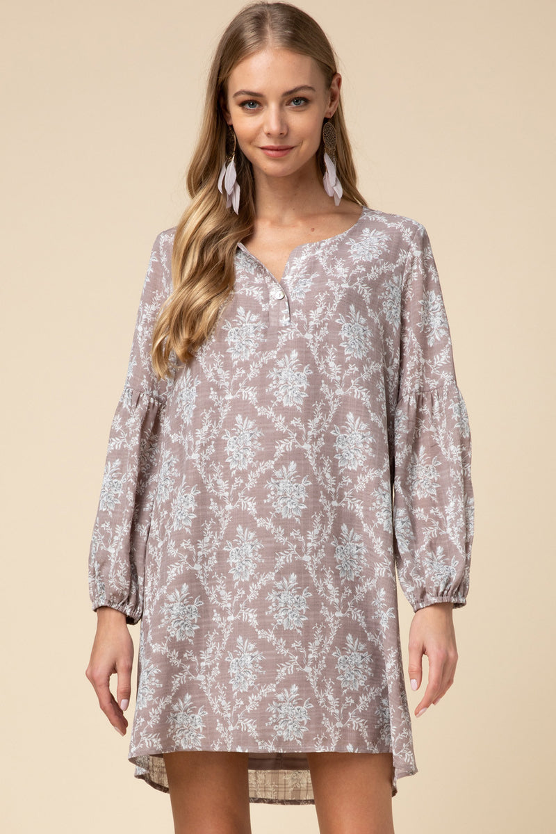 Ornate Floral Long Sleeve Dress