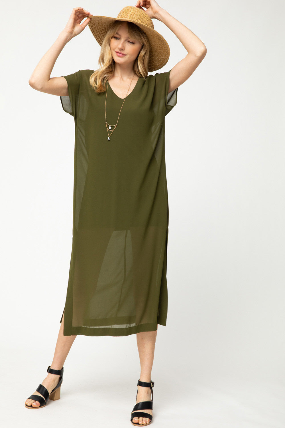 LAST CALL SIZE L | Solid Olive V-Neck Maxi Dress