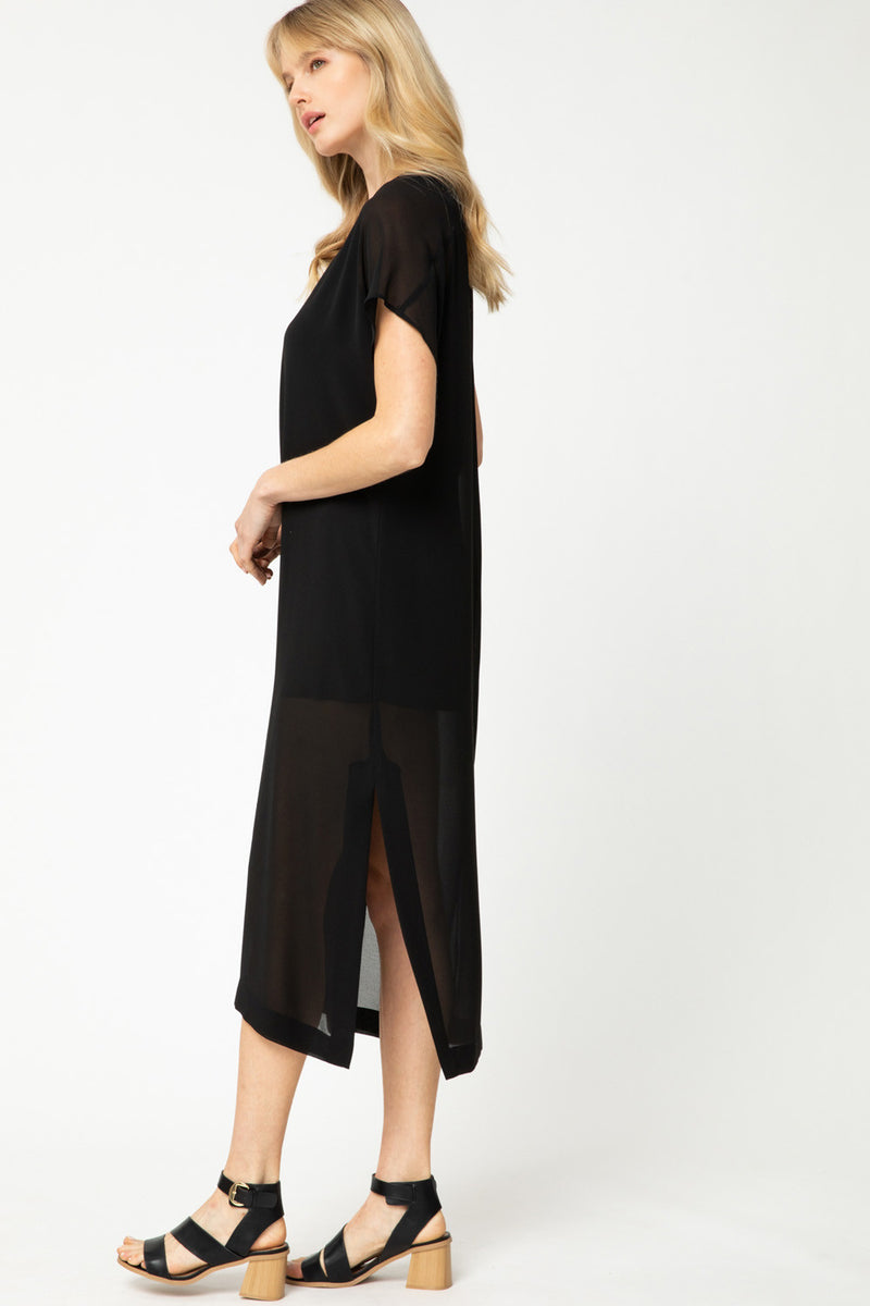 Solid Black V-Neck Maxi Dress