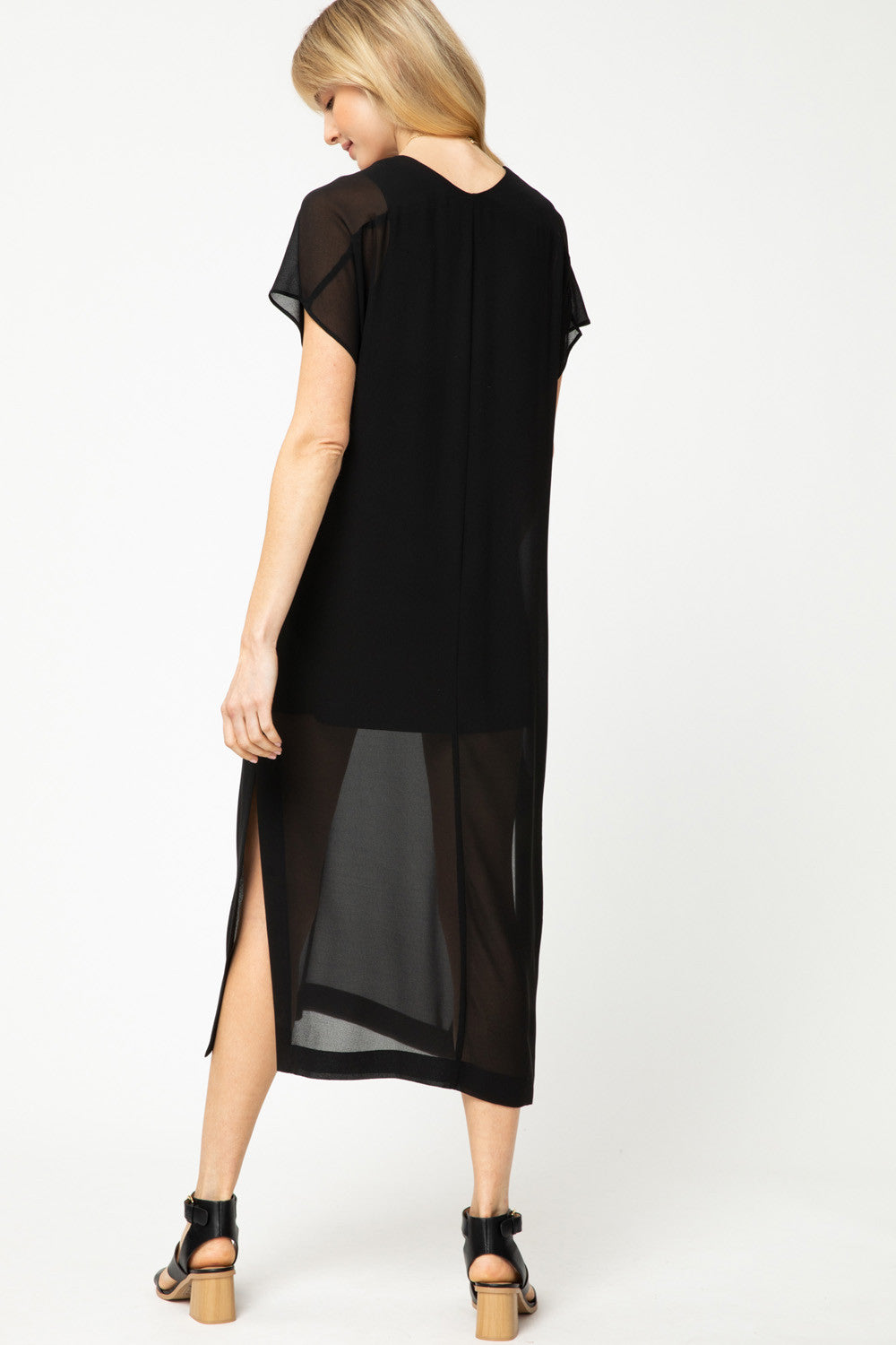 LAST CALL SIZE L | Solid Black V-Neck Maxi Dress