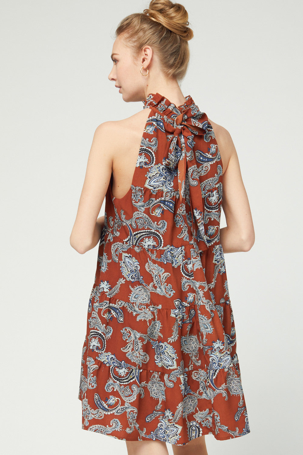LAST CALL SIZE M | Paisley Print Halter Neck Dress