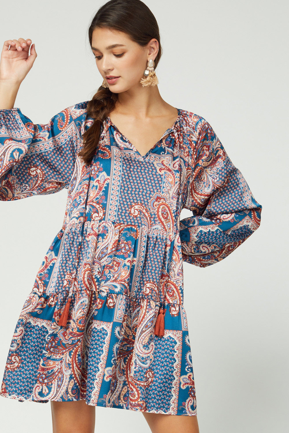 Mixed Print Boho Baby Doll Dress
