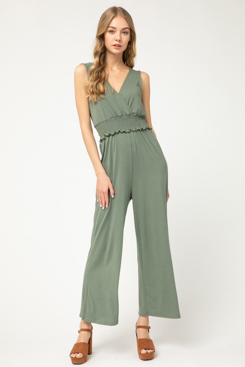 LAST CALL SIZE L | Sleeveless Knit Jumpsuit in Light Olive