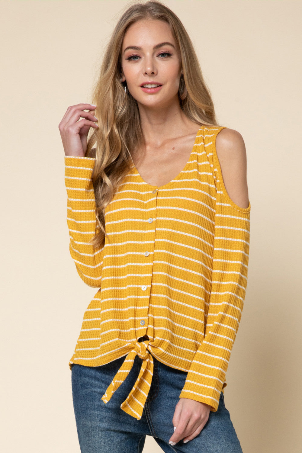 LAST CALL SIZE M | Striped Cold Shoulder Top in Mustard