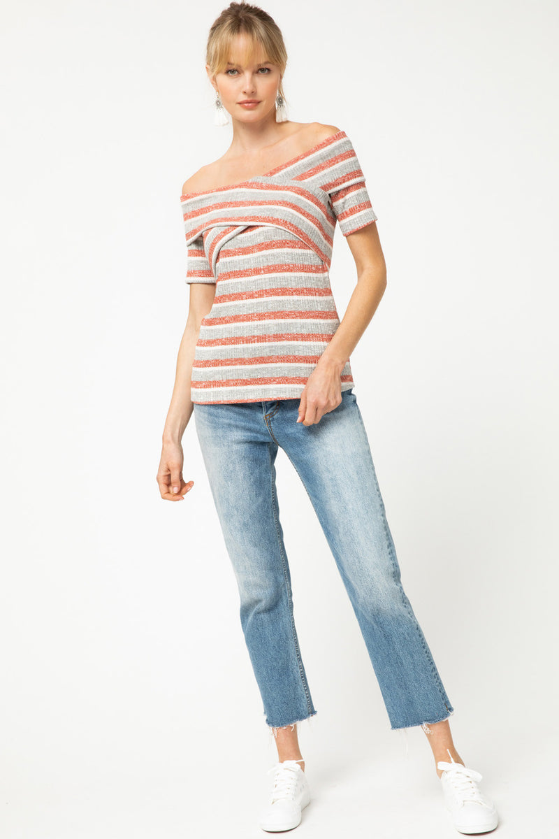 LAST CALL SIZE S | Striped Off Shoulder Top