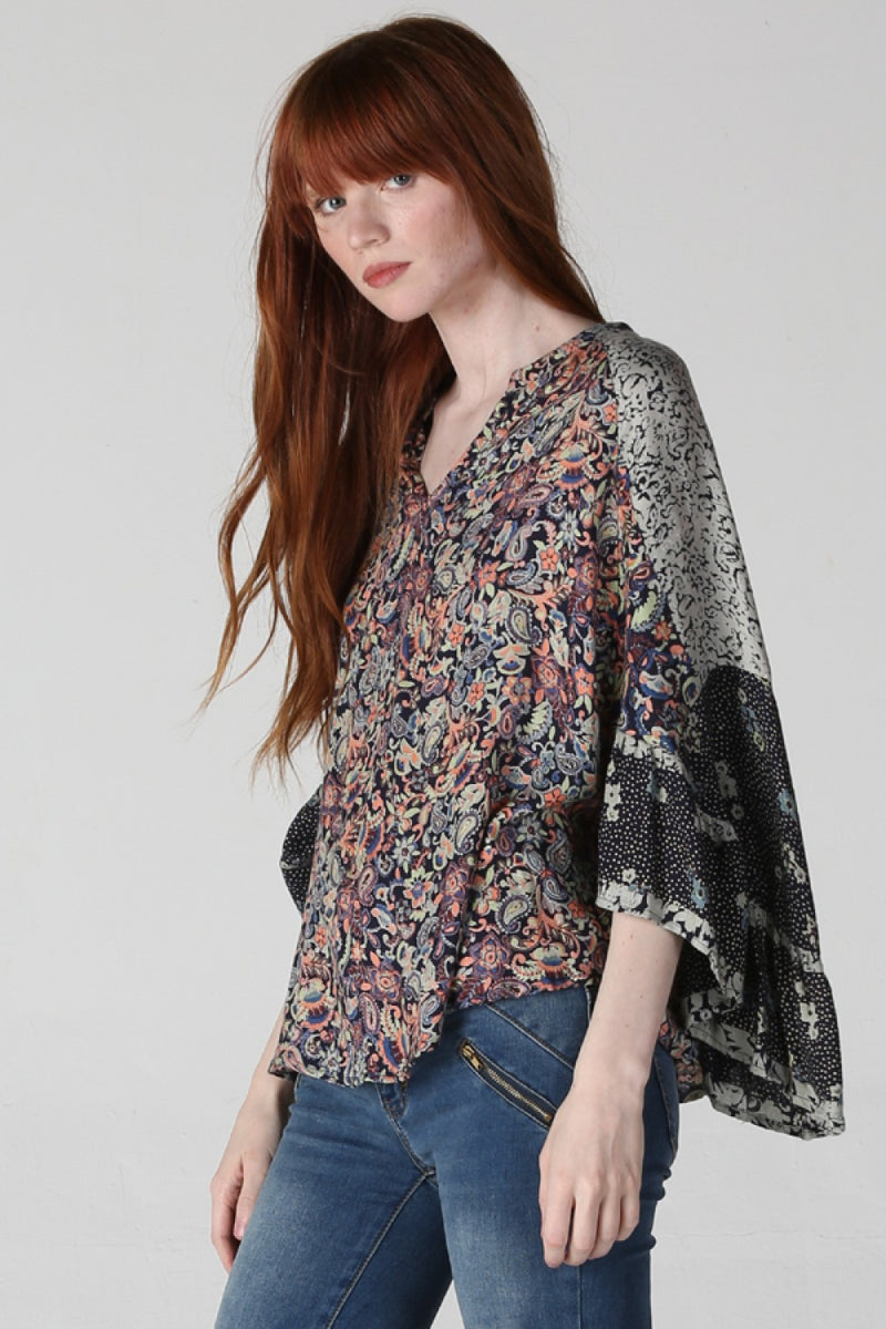 LAST CALL SIZE L | Mixed Print Bohemian Poncho Top