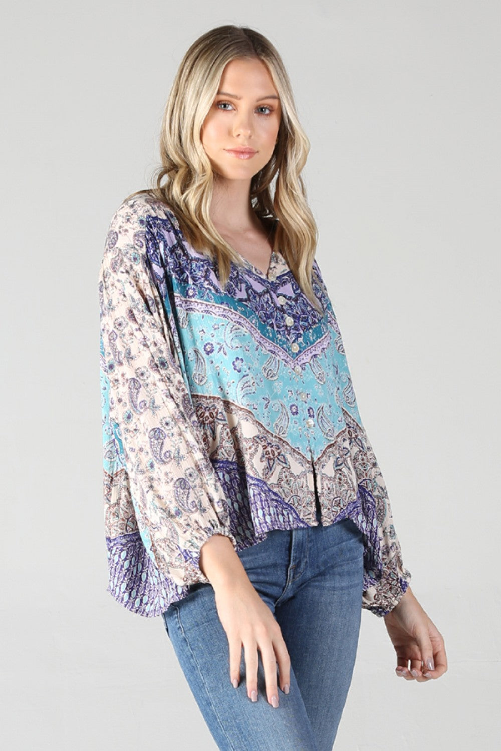 Button Front Print Top