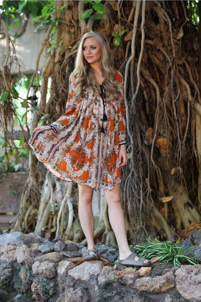 Bell Sleeve Bohemian Dress