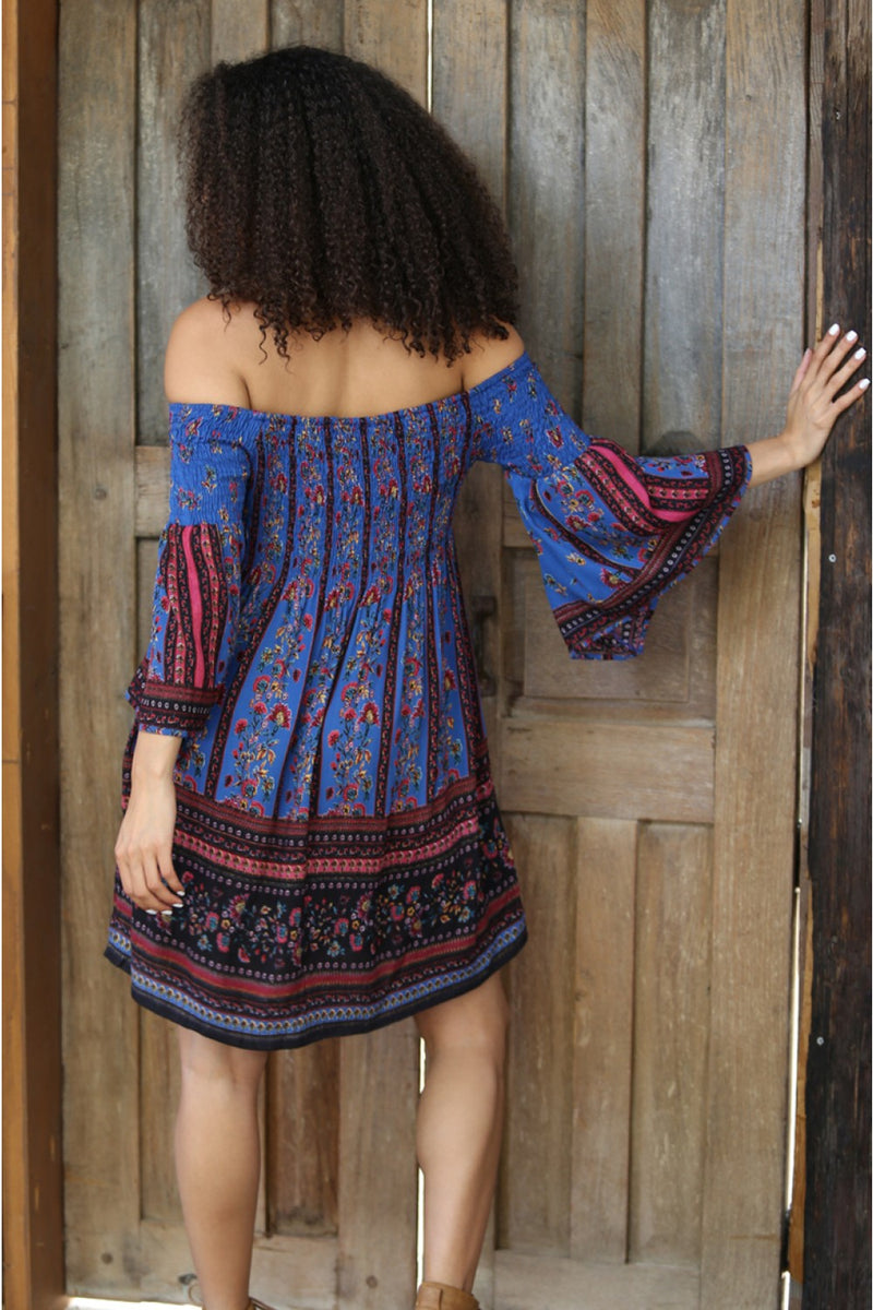 Smocked Off Shoulder Dress