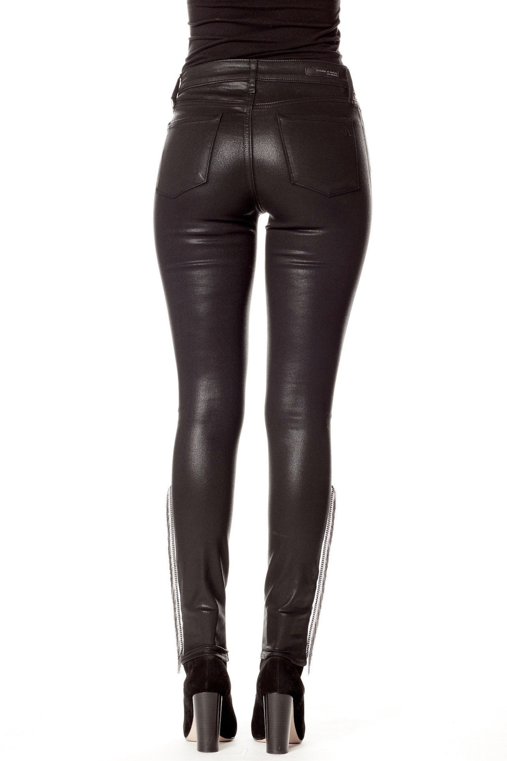 Black Coated Skinny Jeans with Silver Chain Fringe Detail Back