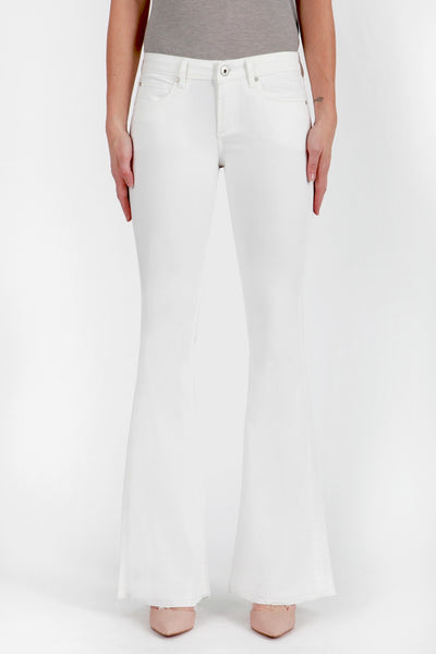 White Flare Jeans with Distressed Hem Front