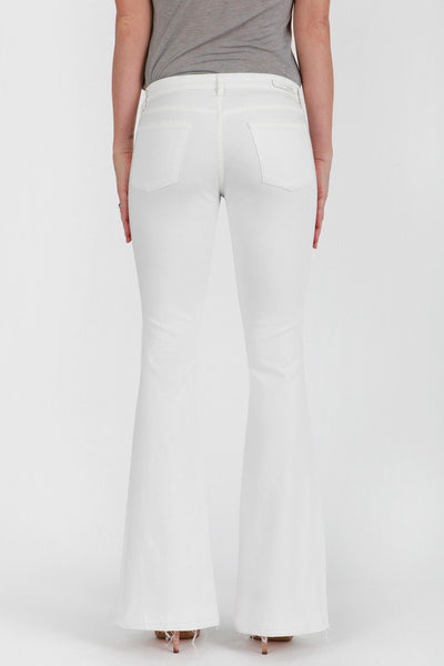 White Flare Jeans with Distressed Hem Back