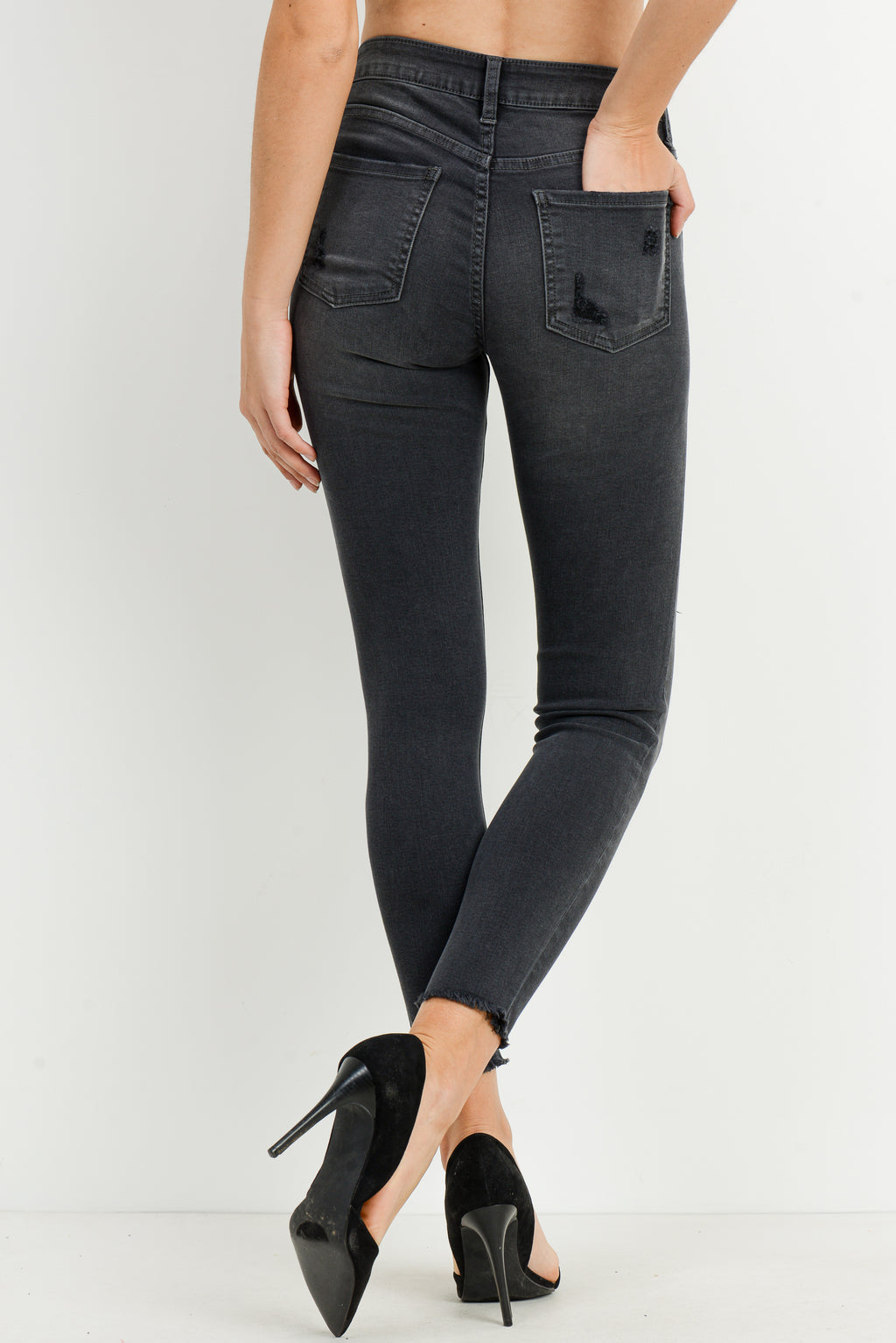 LAST CALL SIZE 31 | Washed Black Skinny Jeans with Contrast Black Distressing