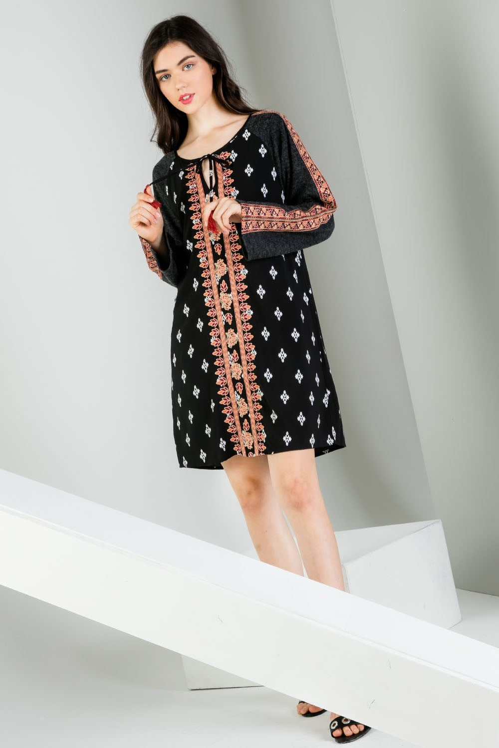 Mixed Print Embroidered Long Sleeve Dress