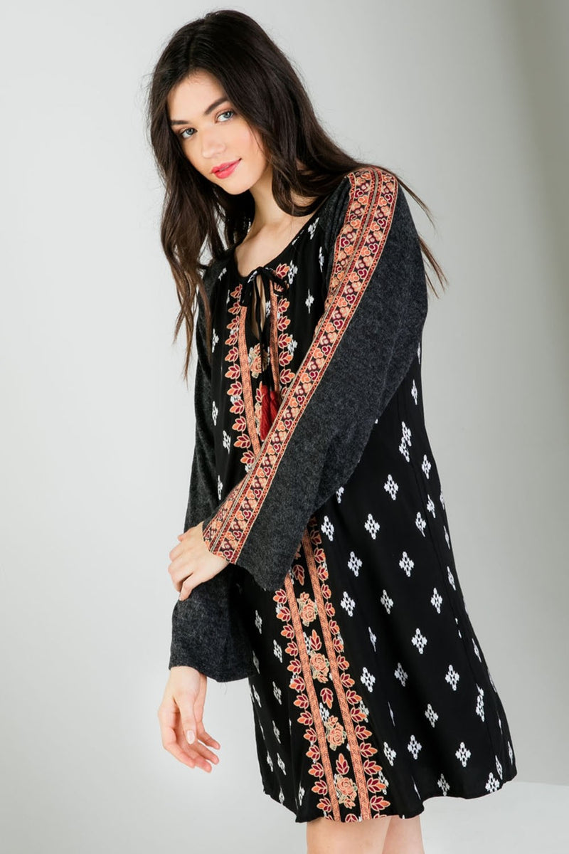 Mixed Print Embroidered Long Sleeve Dress Side View