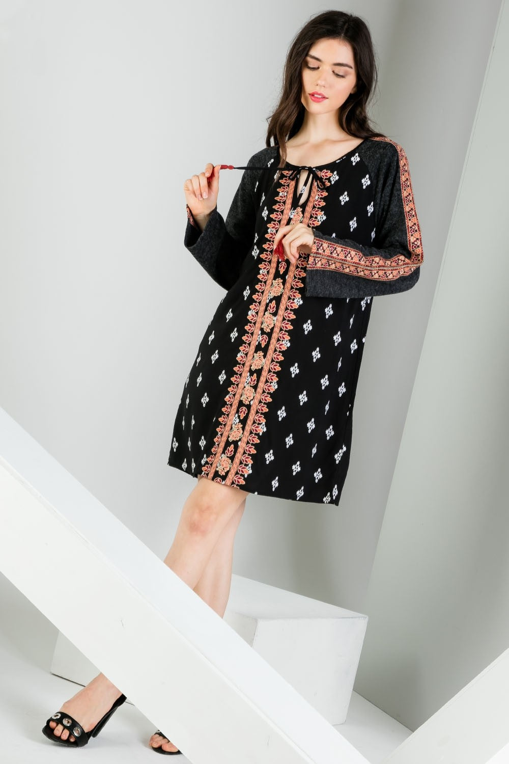Mixed Print Embroidered Long Sleeve Dress New View