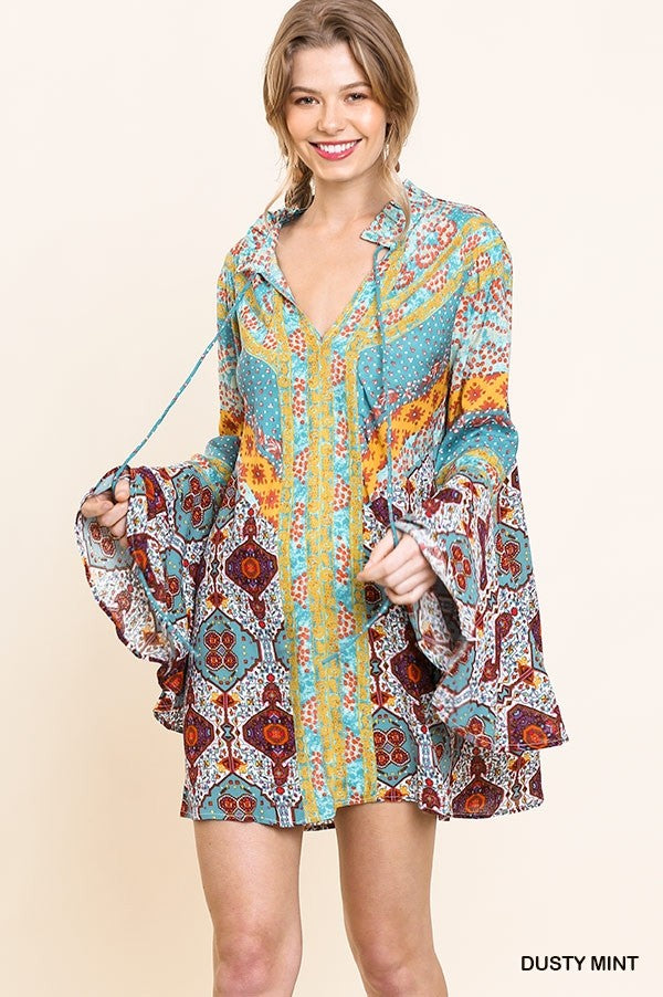 Trumpet Sleeve Shift Tunic Dress with Neck Tie