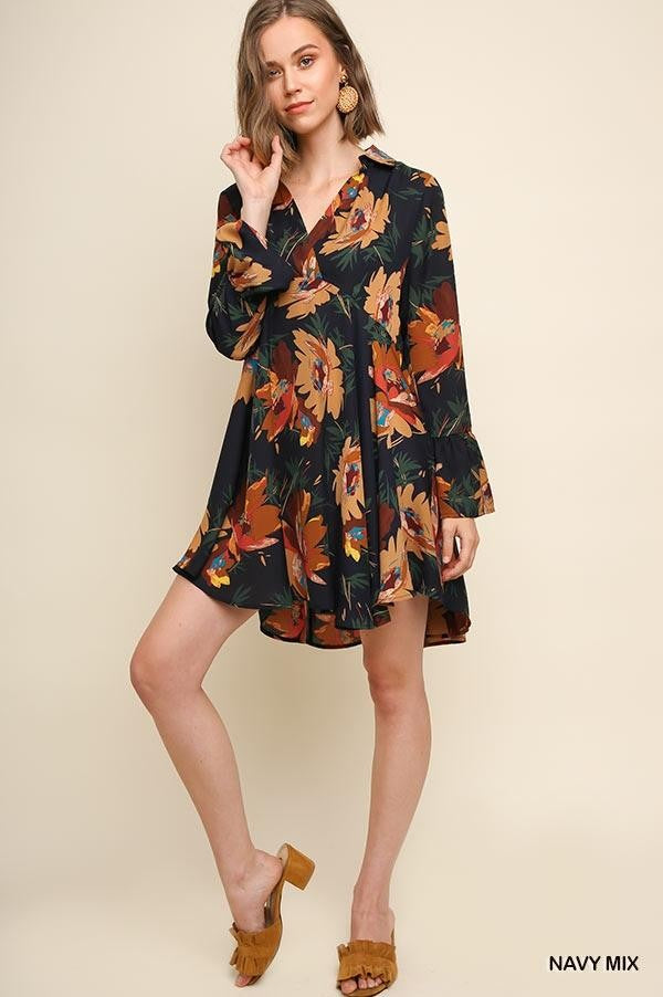 LAST CALL SIZE M | Fall Florals Tunic Dress in Navy