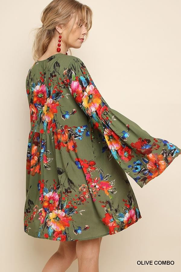 LAST CALL SIZE L | Floral Print Bell Sleeve Dress with Crocheted Neckline in Olive