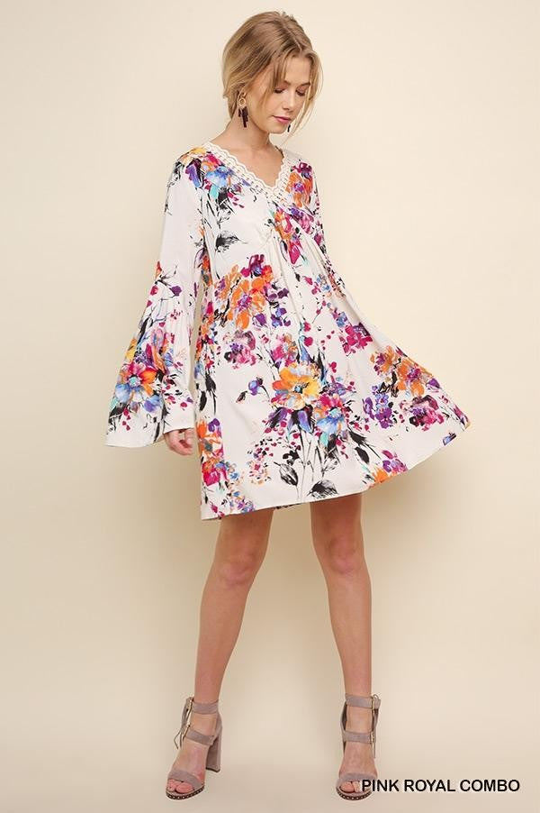 LAST CALL SIZE L | Floral Print Bell Sleeve Dress with Crocheted Neckline in Pink/Royal
