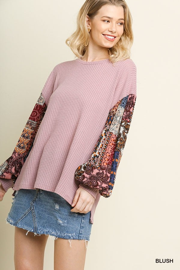 Waffle Knit Printed Balloon Sleeve Blouse in Blush