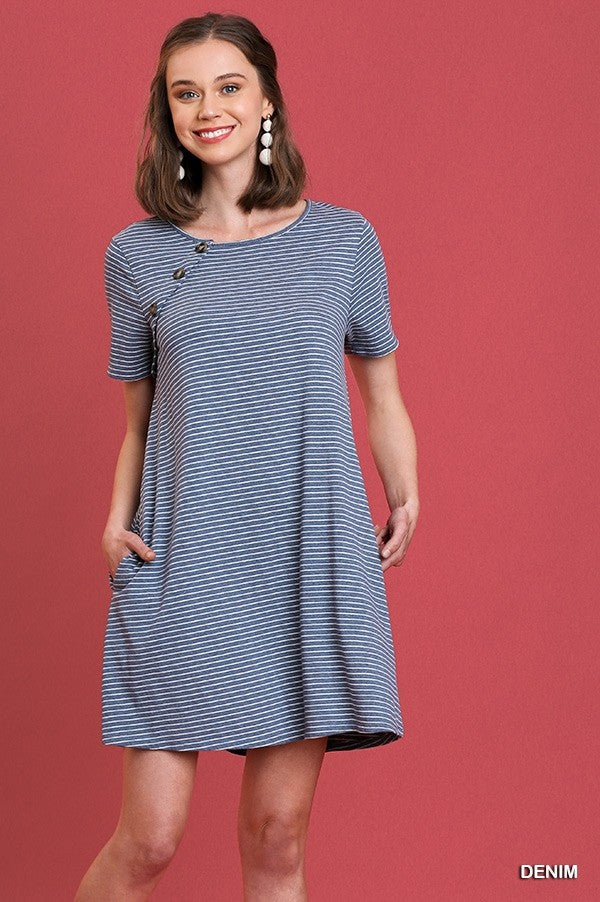 Navy and White Striped Short Sleeve Dress with Pockets