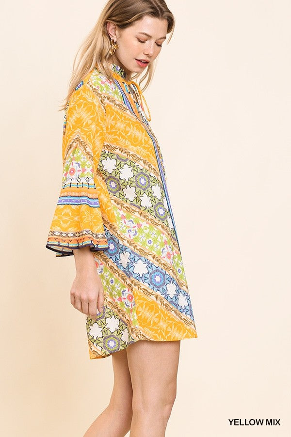 LAST CALL SIZE L | Floral Scarf Print Bell Sleeve Dress