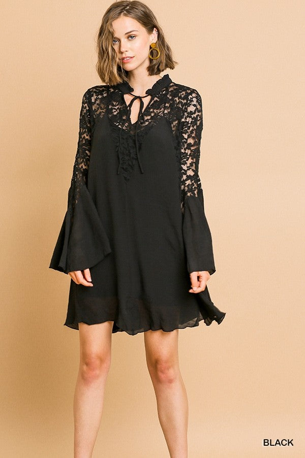 LAST CALL SIZE S | Black Lace Boho Dress