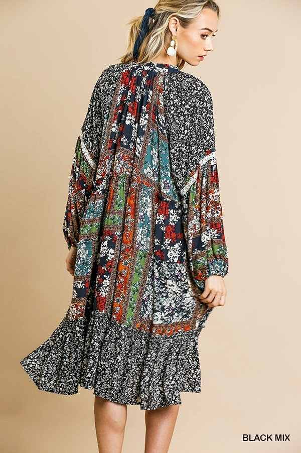 Bohemian Mixed Midi Print Dress