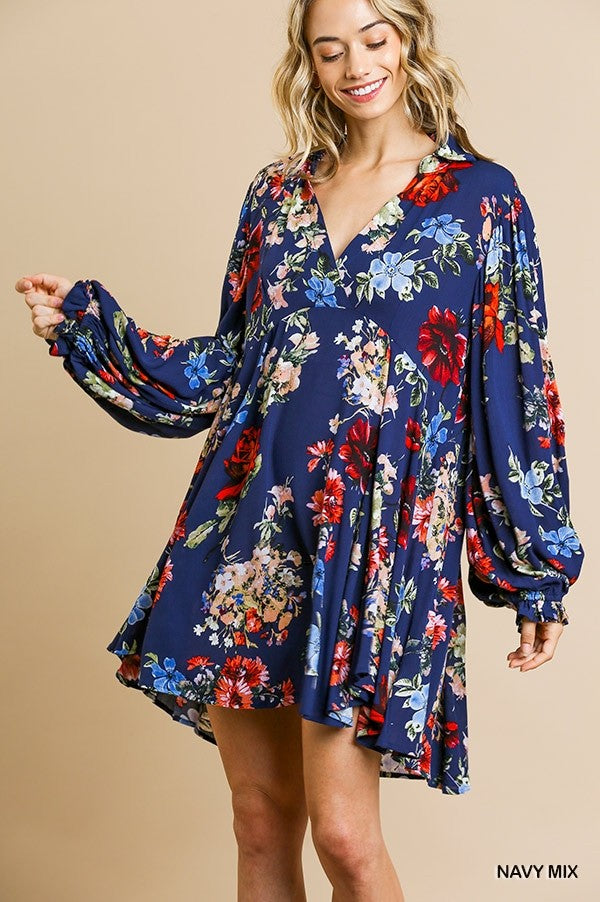 LAST CALL SIZE L | Floral Print Long Ruffle Sleeve Dress in Navy