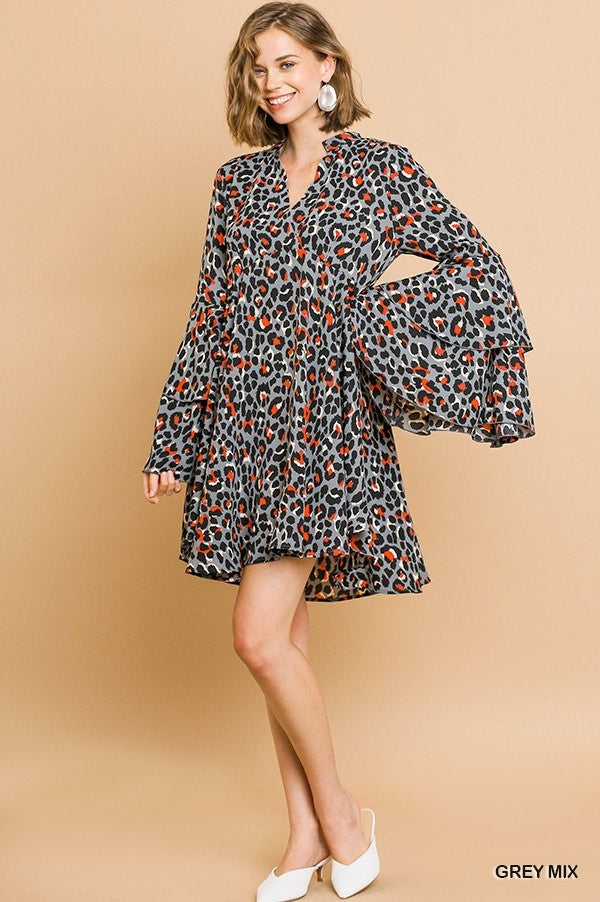 Animal Print Bell Sleeve Dress Grey Mix