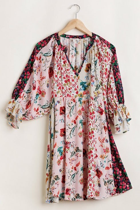 LAST CALL SIZE M | Mixed Floral Print Peasant Dress in Blush