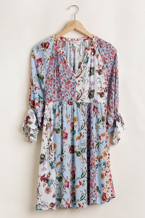 Mixed Floral Print Peasant Dress in Blue