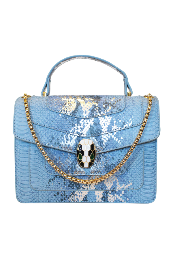 Python Vegan Leather Satchel with Snake Closure in Blue