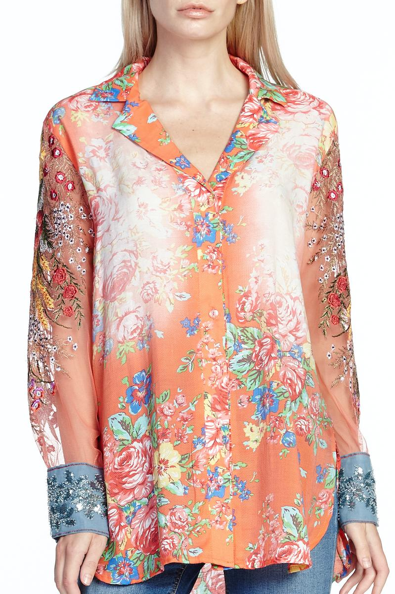 LAST CALL SIZE S | Coral Floral Long Sleeve Button Down Blouse