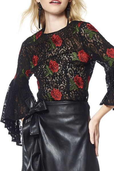 Bell Sleeve Lace Black Top with Rose Appliques