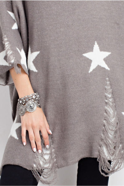 LAST CALL SIZE M/L | Oversized Distressed Star Sweater in Heather Grey