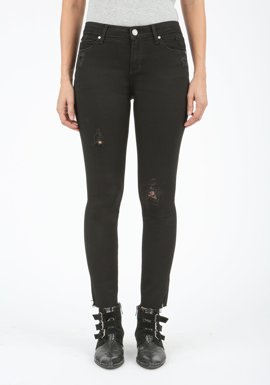 Distressed Black Split Ankle Skinny Jeans