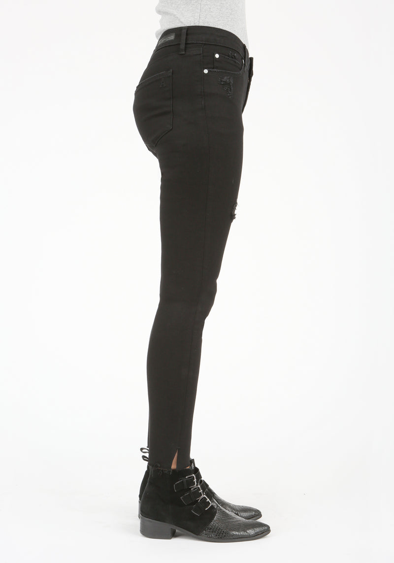 Distressed Black Split Ankle Skinny Jeans Side