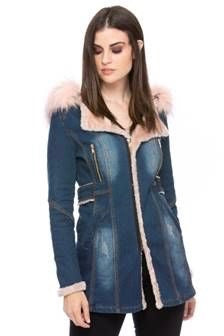Last Call Size S | Belted Blue Jean Jacket with Pink Faux Fur Collar & Hood