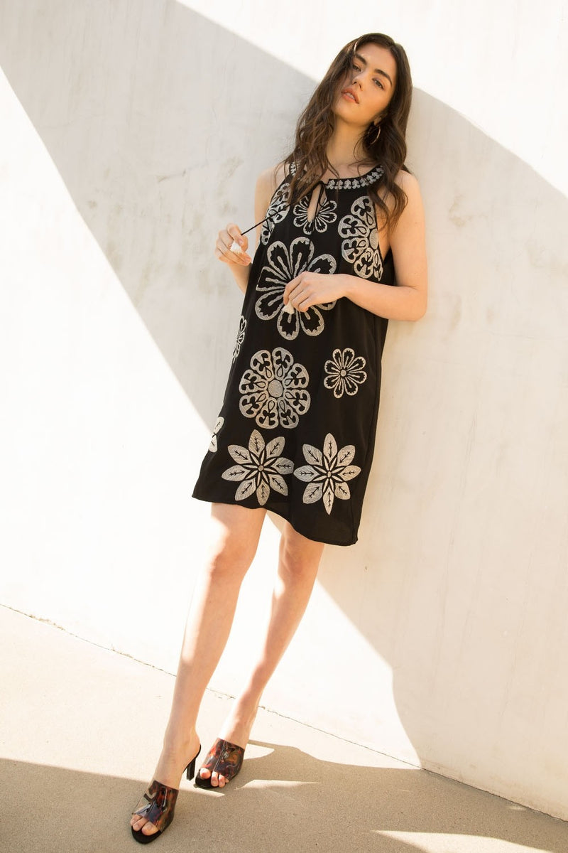LAST CALL SIZE S | Black Embroidered Shift Dress