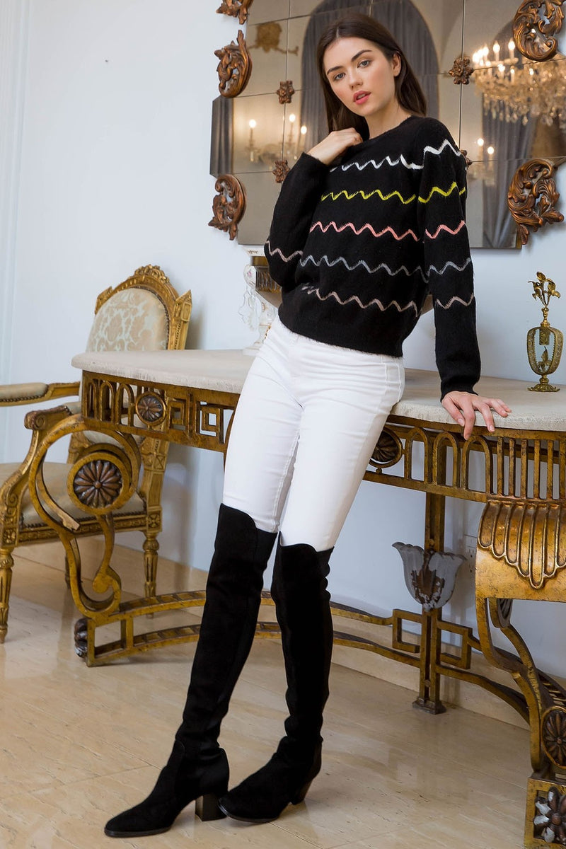Zig-Zag Colorful Striped Long Sleeve Sweater