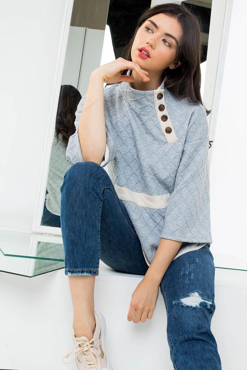 Front Pocket Mock Neck Waffle Knit Sweater
