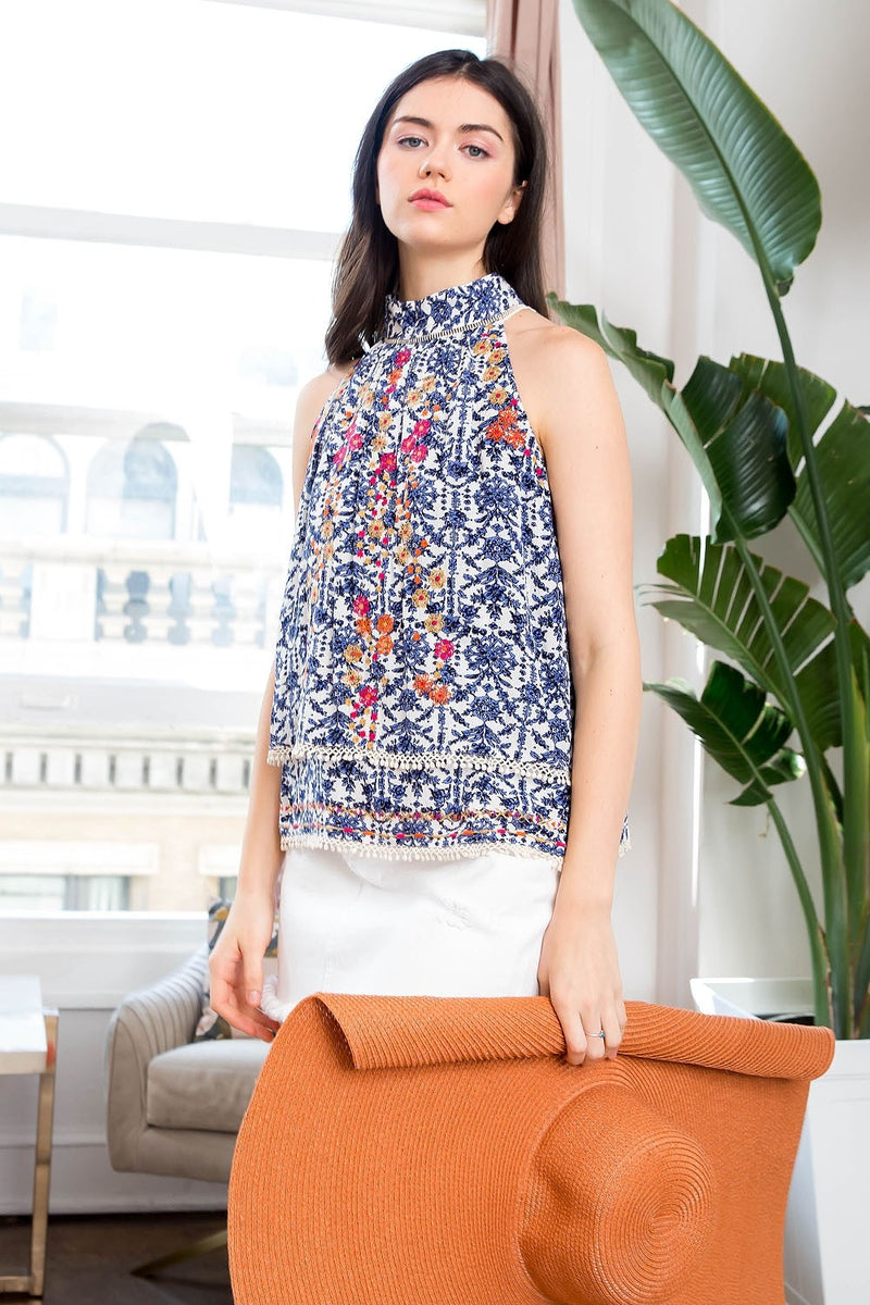 Embroidered Halter Floral Top