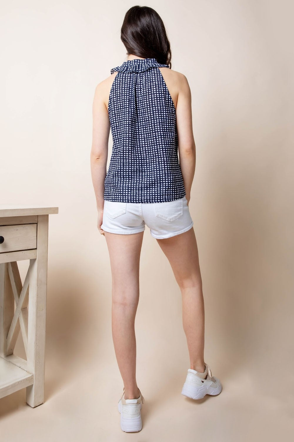 Navy and White Geometric Print Top with Embroidered Neckline