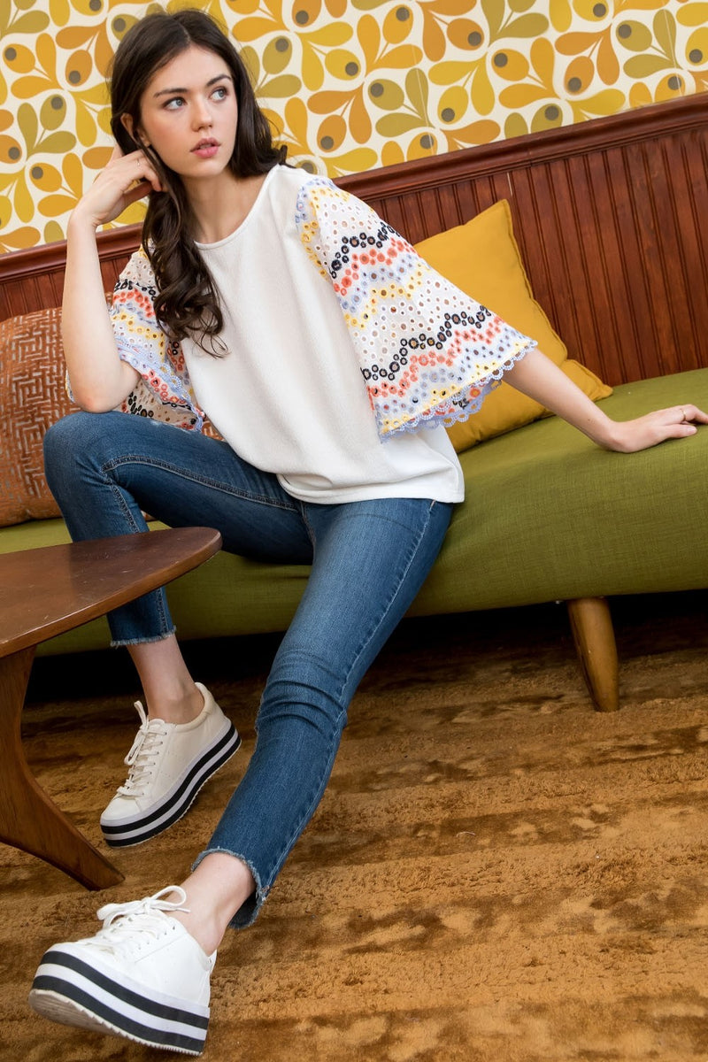 Embroidered Sleeve Knit Top