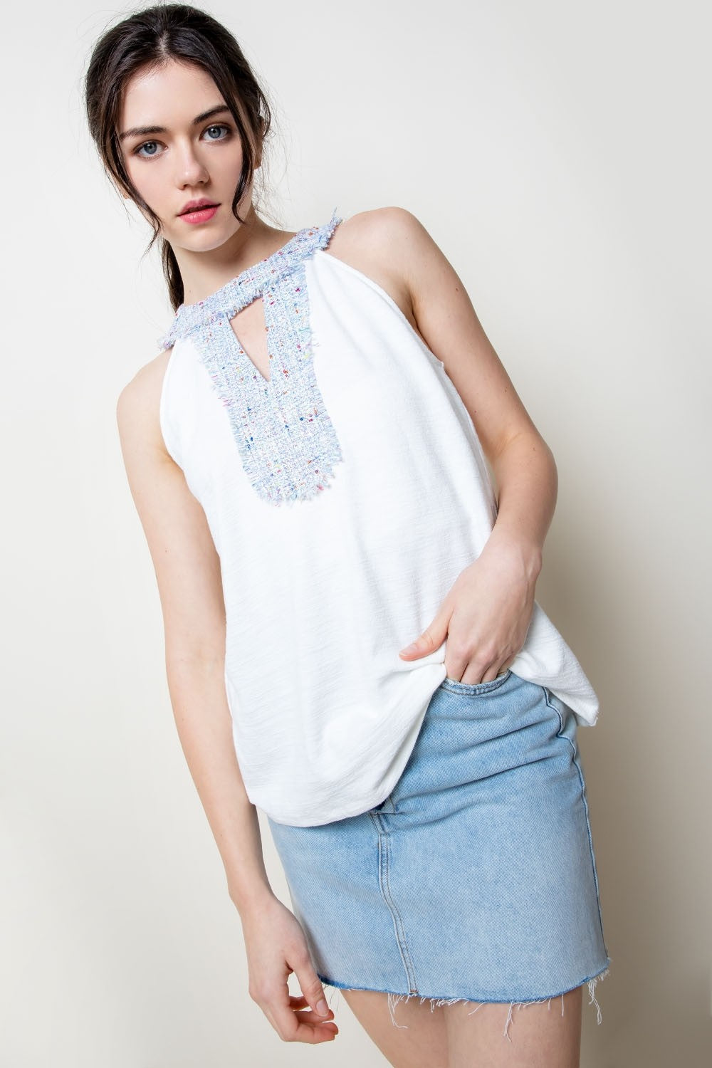 Embroidered Halter Tank Top