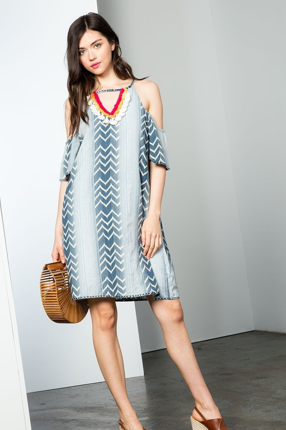 Cold Shoulder Chambray Style Dress w/Tassels