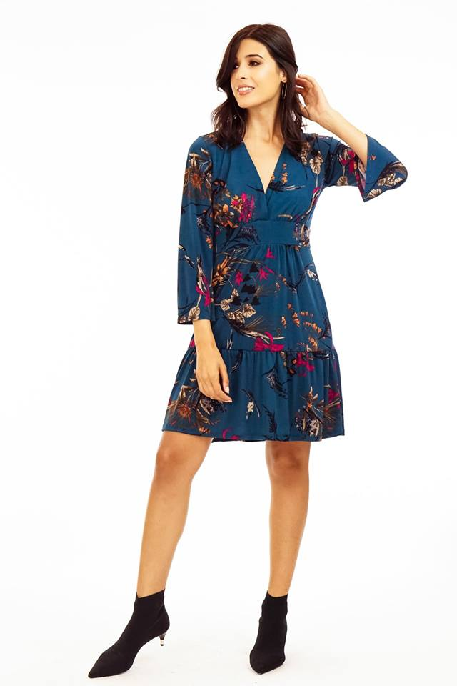 Floral Print Bell Sleeve Teal Dress