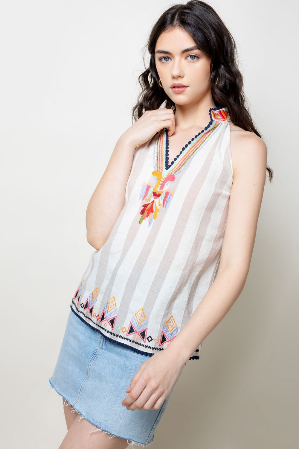 Striped Sleeveless Top with Embroidered Neckline
